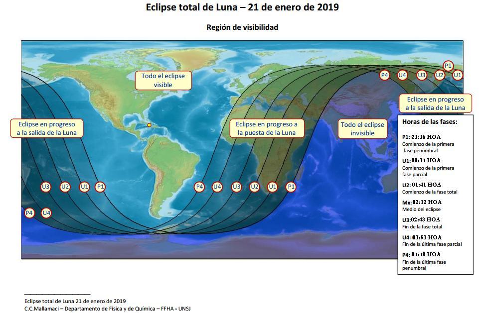 Eclipse total de luna. Región de visibilidad