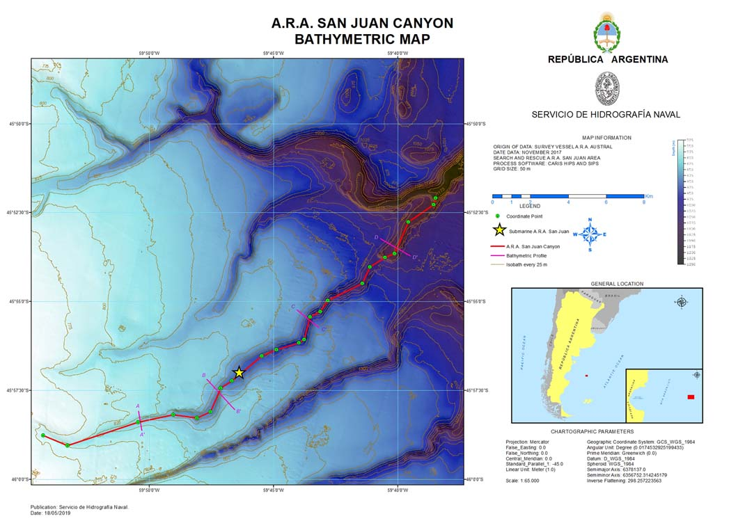 Mapa batimétrico Cañón ARA San Juan
