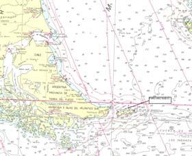 <i>Sector de la carta H-418 donde puede ubicarse el faro Año Nuevo, en isla Observatorio y al Norte de isla de los Estados</i><br><br>