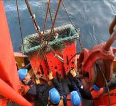 <EM>Maniobra de Rastra, para obtención de muestras superficiales de lecho marino</EM><br>