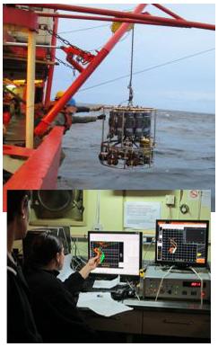 <em>Foto de arriba: Roseta con 12 botellas Niskin, CTD y Correntómetro.<br><br>Foto de abajo: Sistemas de adquisición de datos en uno de los Gabinetes.</em>