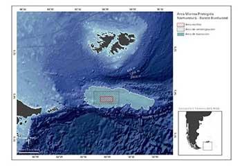 <em>Mapa N°1 Área Marina Protegida Namuncurá - Banco Burdwood. [9]</em>