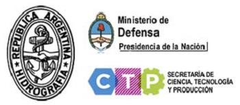Logo de Hidrografía naval, Ministerio de Defensa y secretaría de Ciencia, Tecnología y Producción.