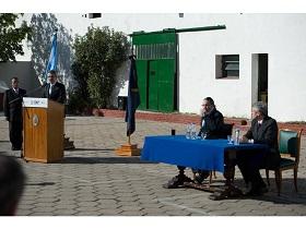 De izquierda a derecha: Ingeniero Agustín Rossi, Lic. Santiago Rodríguez y CL (RE) Andrés Di Vincenzo