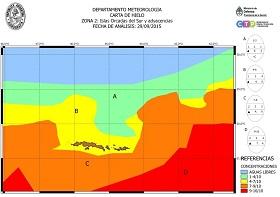 Concentración de hielo marino al 29 de septiembre de 2015, de acuerdo al código del óvalo (ej:  Zona2: Islas Orcadas del Sur y adyacencias).