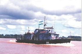Fotografía de la Botadura de la Lancha Hidrográfica ARA <q>Cormorán</q>.