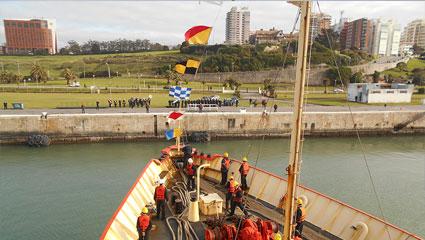 Vista desde el buque, antes de ingresar al apostadero. <BR/>Fuente: Gaceta Marinera