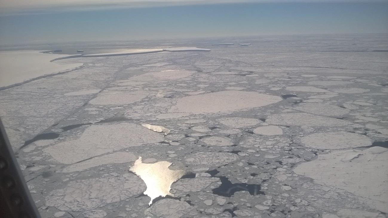 Figura 2: al sur del mar de Bellinghausen, a la izquierda la barrera de hielo en Costa Bryan, témpanos a la deriva al fondo de la imagen y en primer plano predomina netamente hielo marino.