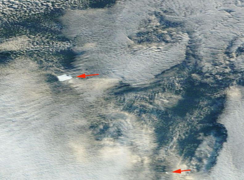 Figura 2: témpanos en el mar de Belligshausen (imagen Terra-MODIS).